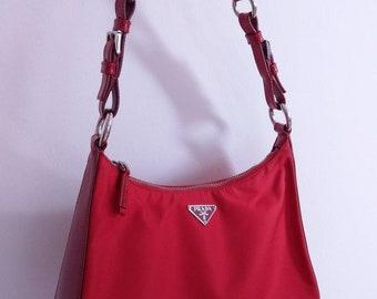 58875eb15b5d A bright red vintage nylon Prada shoulder bag is here!