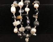 Handmade necklace stone and pearl natural form Thailand