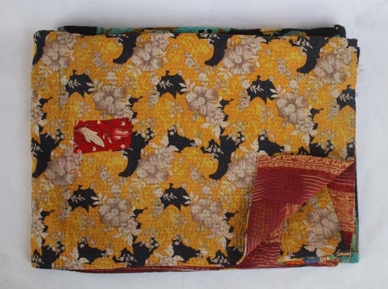 Reversible Kantha Blanket Vintage Kantha Quilt Sari Kantha Throw Handmade Kantha Bedspread Cotton Kantha Bed Cover
