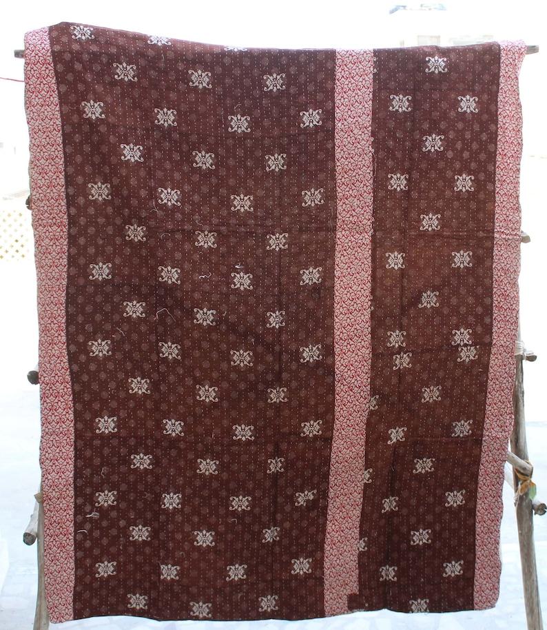 Vintage Cotton Floral Design Kantha Quilt Reversible Kantha Blanket Sari Kantha Throw Bohemian Kantha Bedspread Indian Kantha Bed Cover