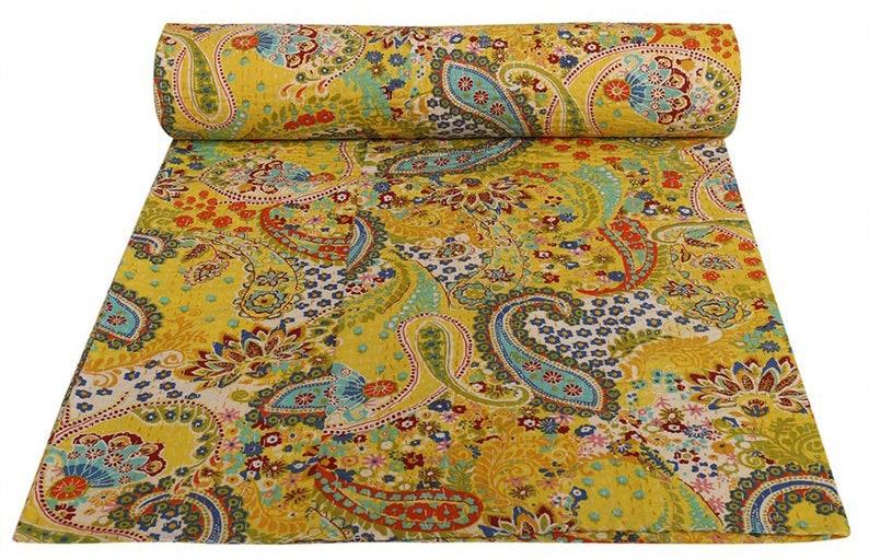 5 Pcs Lot Paisley Design Handmade Kantha Quilt Indian Cotton Kantha Blanket Bohemian Kantha Bedspread Kantha Throw Kantha Bed Cover