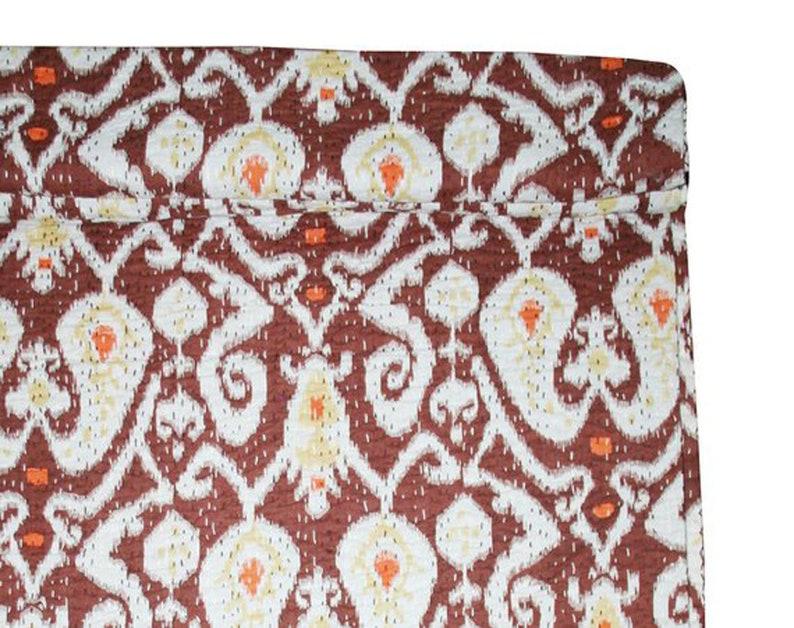 Brown Handmade Paisley Print Kantha Quilt Indian Cotton Kantha Blanket Bohemian Kantha Bedspread Reversible Kantha Throw