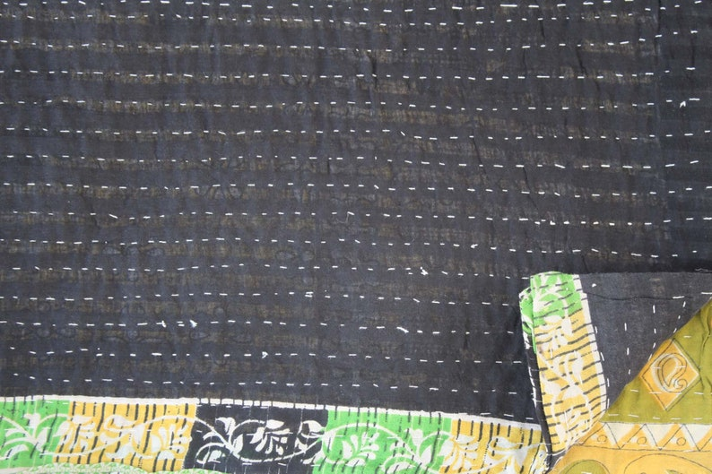Vintage Reversible Cotton Kantha Quilt Paisley Print Kantha Blanket Hand Stitched Sari Kantha Throw Bohemian Bedspread Kantha Bed Cover