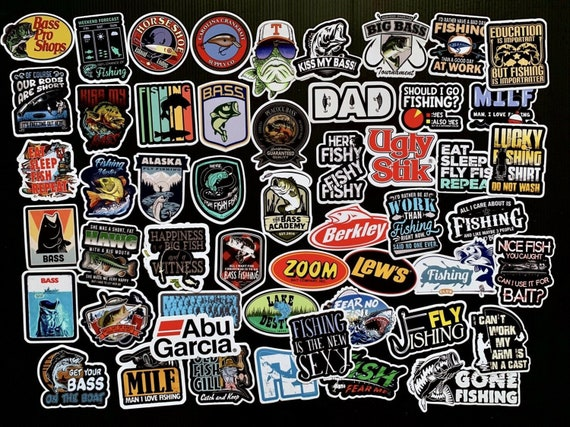 Pack of 50 Vintage Fishing Sticker Fish USA Label Decal Reel Travel Toolbox  Scrapbook Stickers Decal
