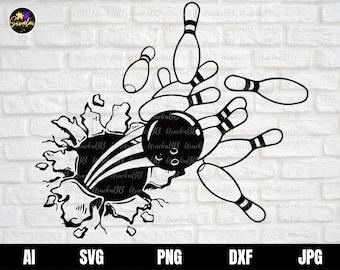 Bowling Svg, Smashing Bowling Logo SVG, Bowling Shirt SVG, Bowling Clipart, Bowling Files for Cricut, Instant Download, Svg, Png, AI, Dxf