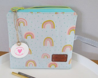 """Beautiful small zippered pocket """"rainbow"""" made of reinforced cotton for make-up, pens and Co. 17 x 19 cm"""