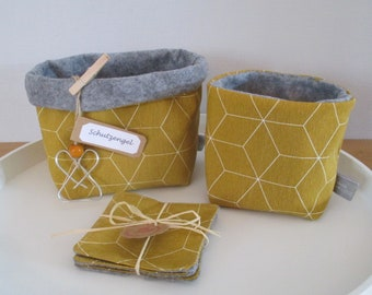 Utensilos medium and small with three matching coasters in trendy okker yellow with honeycomb pattern, inner felt fabric, with guardian angel