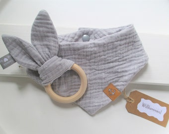 Baby muslin cloth light grey with small white anchors and an anchor SnapPap with matching crackling bunny with natural wood ring
