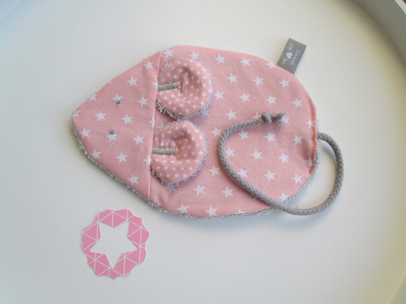 Knistermaus /Knistertuch Milli pink with white stars image 0