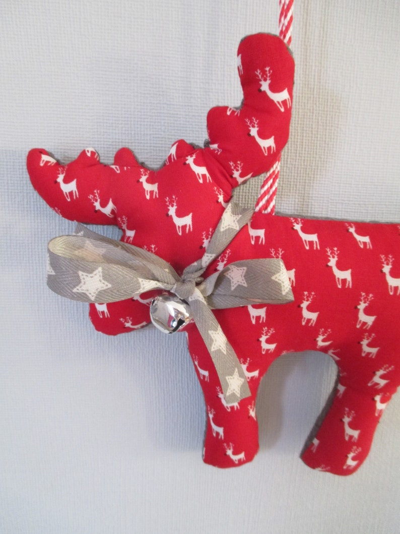 TWO Christmas elk with bow and bells to hang image 0