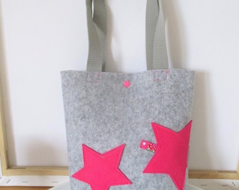 """Felt bag for trendy kids """"lucky stars"""" with pink stars made of felt and a ribbon with mushrooms, size 22x 23 cm, handles made of webbing"""