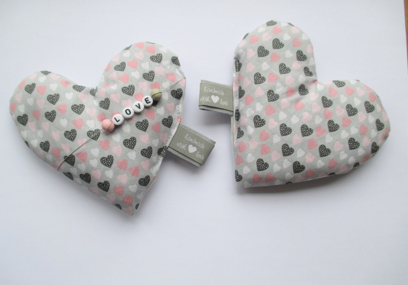 Pocket hand warmer love hearts filled with biory 12 cm image 0