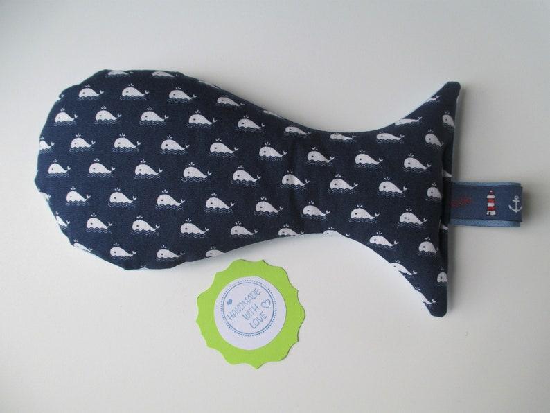 Baby grainfish Ole maritim with whales dark blue/light blue image 0