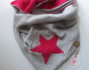 Triangular cloth made of muslin for children (about 4-8 years) in reversible look and SnapPap, dimensions 100 cm x 70 cm with attention to detail