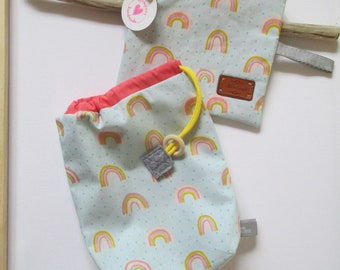 """Nice little zippered bag """"rainbow"""" made of reinforced cotton Dimensions 17 x 19 cm with a great gift bag"""