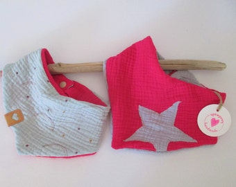 Two beautiful trendy baby cuddly towels about 4-12 months (pink with star) and 3-6 months (rainbows / pink), with push button