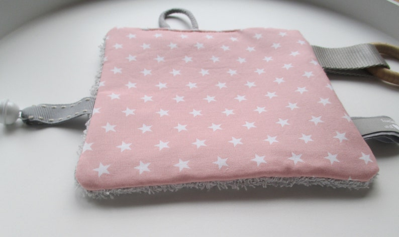 NEW crackling cloth large 17 x 17 cm pink with stars and image 0
