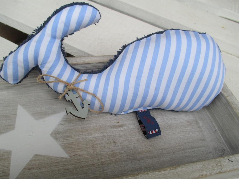 Baby cuddly or decorative whale Fiete blue white image 0