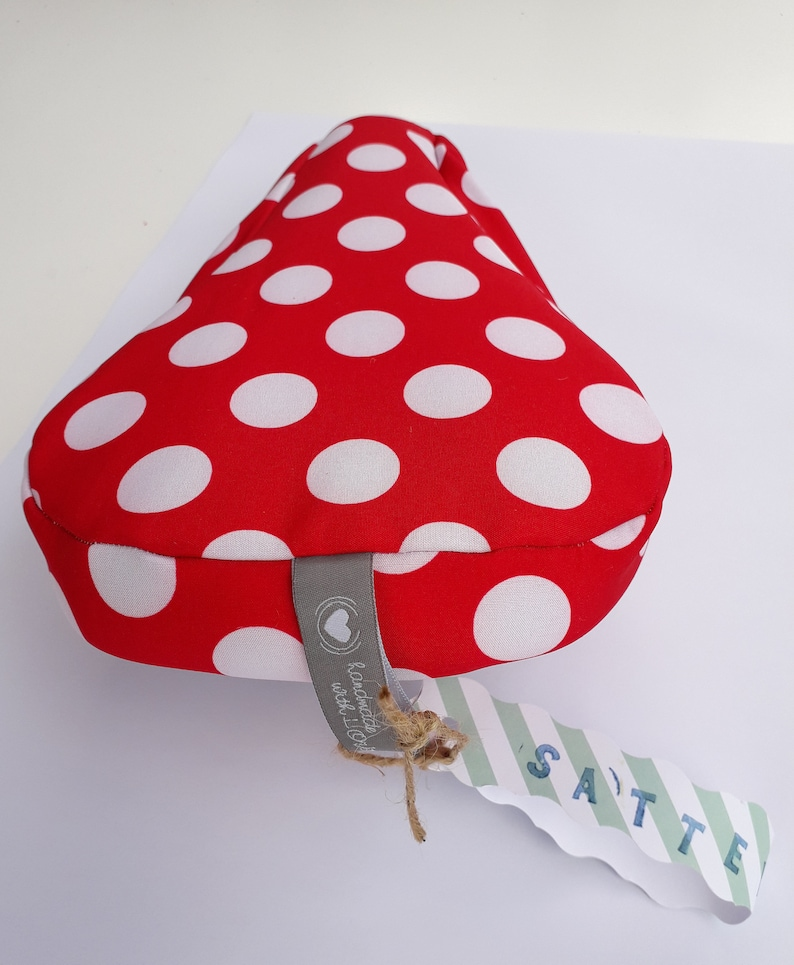 Saddle protection softshell Kids dots love red/White image 0