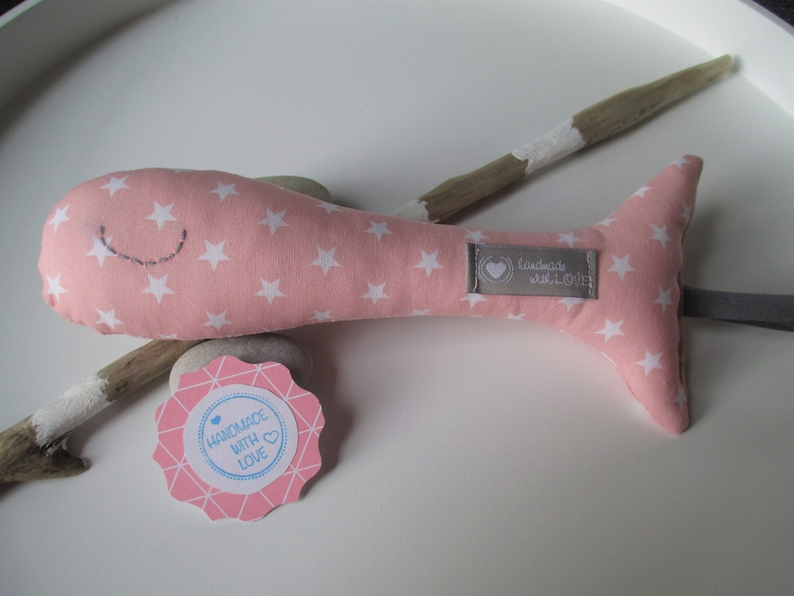 Baby rattle Paula in pink with white stars 20 cm image 0