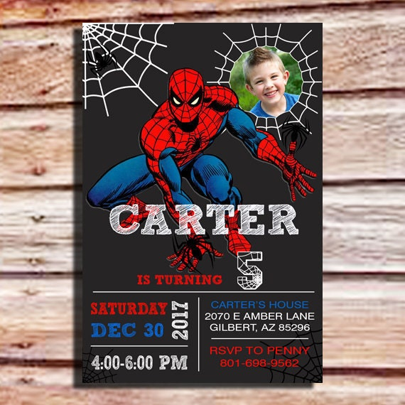 Invitation Anniversaire Spiderman Spiderman Invitation Avec Photo Fête Danniversaire Spiderman Spiderman Fête Invitation Invitation Spiderman