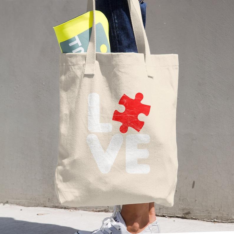Love Autism Cotton Tote Bag-Cotton Tote Bag-autism tote bag-teacher gift-canvas tote-autism awareness tote-autism awareness bag-autism groce