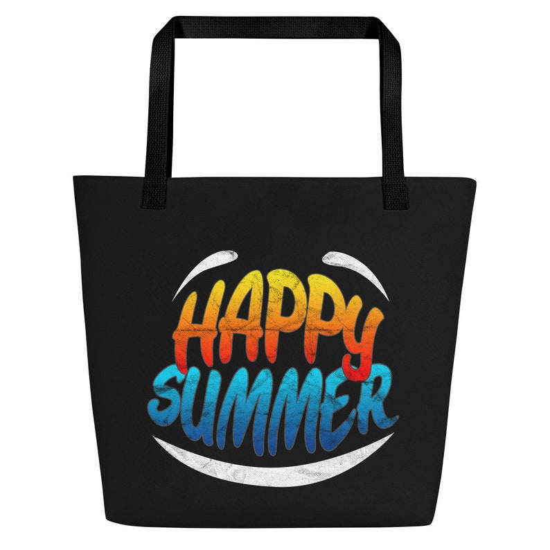 sunglasses canvas tote-college tote bag-tote bag-summer tote bag-canvas tote-beach tote bag-shopping tote bag-Happy Summer Beach Bag