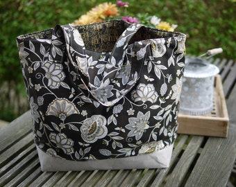 Beach bag, shopper, bath bag flowers & bees, black-grey