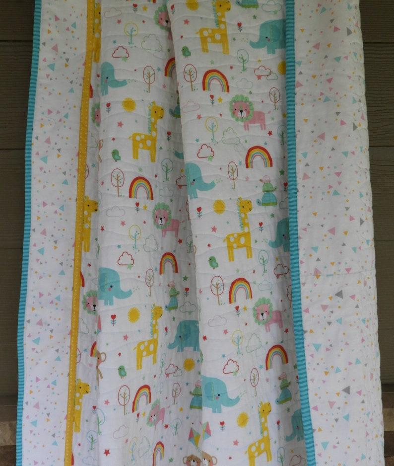 58fed923367cf Jungle baby quilt/Handmade baby quilt/Cotton Jungle baby blanket/rainbow  baby quilt/Jungle nursery/elephant quilt/safari baby quilt