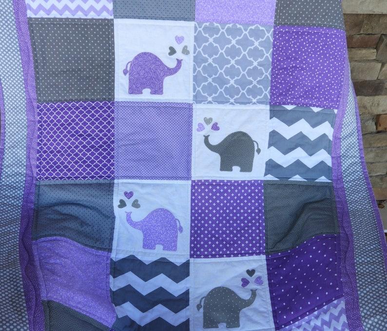 4b25b56715ac1 Purple elephant quilt/ Handmade elephant quilt/Elephant Nursery/Purple Gray  Nursery/Jungle baby quilt/Jungle Nursery/Handmade Elephant