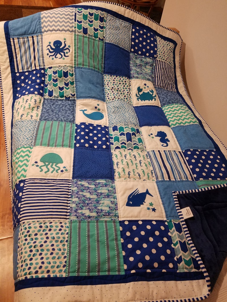 a63aa1d3df293 Undersea quilt/Whale baby quilt/Octopus quilt/Handmade sea quilt/crab  baby/whale quilt/whale nursery/crab nursery/marine nursery/baby whale