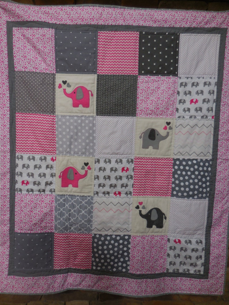 e56ad303cc031 Pink Elephant Baby Quilt/Handmade/Pink/Gray/Elephant Baby Blanket/Elephant  Nursery/Jungle Crib Bedding in Cottons and Soft Minky