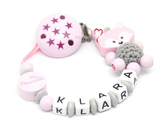 Pacifier chain girl fox pink