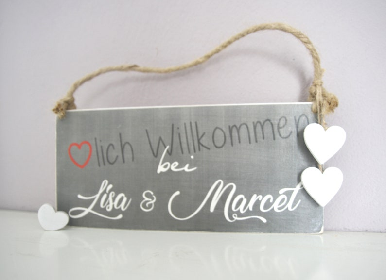 Wooden sign Welcome with name grey