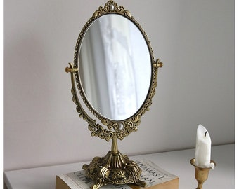 French Antique Brass Vanity Swivel Mirror Standing Vintage Table Mirror