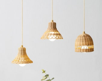 Small Rattan Pendant Light Shade with Battery Operated Pull Cord LED Bulb