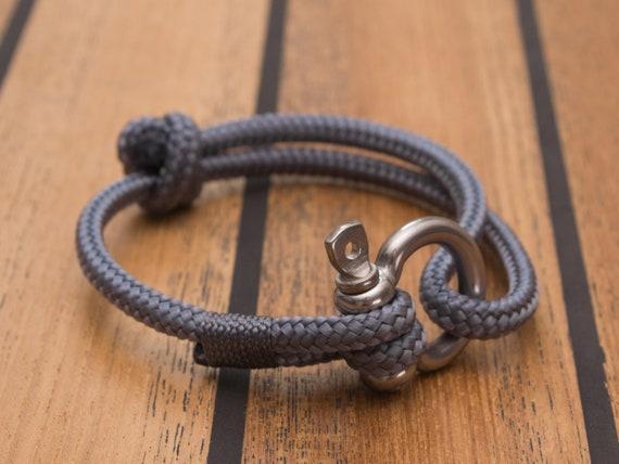 Armband Aus Segeltau Maritim Mit Schakel Grey Etsy