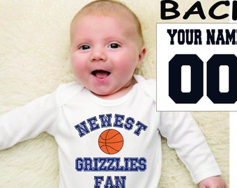grizzlies baby bodysuit shirt infant shower customized personalized name and number 100% cotton one piece shirt t-shirt tee