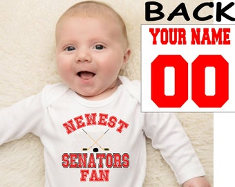 Senators baby bodysuit shirt infant shower customized personalized name and number 100% cotton one piece shirt t-shirt tee