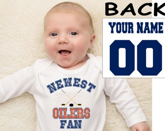 Oilers baby bodysuit shirt infant shower customized personalized name and number 100% cotton one piece shirt t-shirt tee
