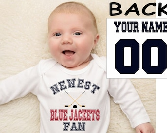 Blue Jackets baby bodysuit shirt infant shower customized personalized name and number 100% cotton one piece shirt t-shirt tee