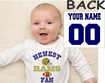 Rams Helmet Embroidered Patch Baby Boy Onesie 9 Months