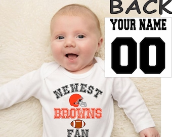 browns baby bodysuit shirt infant shower customized personalized name and number 100% cotton one piece shirt t-shirt tee