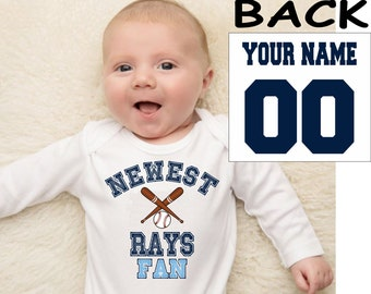Rays baby bodysuit shirt infant shower customized personalized name and number 100% cotton one piece shirt t-shirt tee