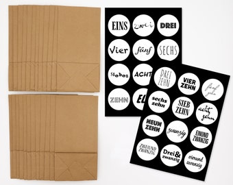 Advent calendar for filling - DIY craft set - self-adhesive numbers labels black and white and 24 paper bags