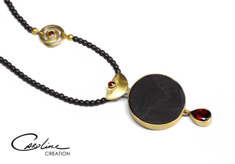 Collier  Red Moon  Gold  Garnet  Slate image 0