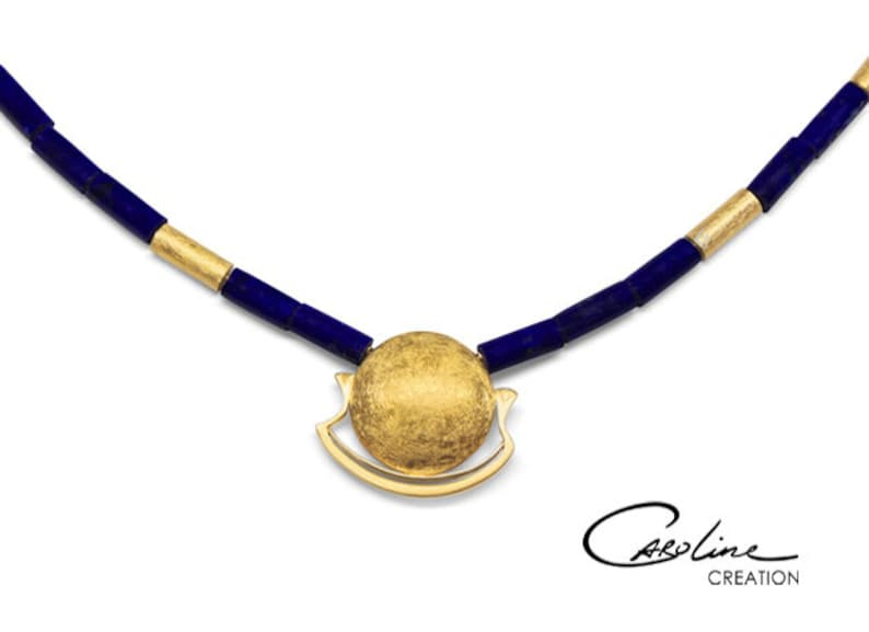Necklace  Night Trip of the Sun   Gold  Lapis image 0