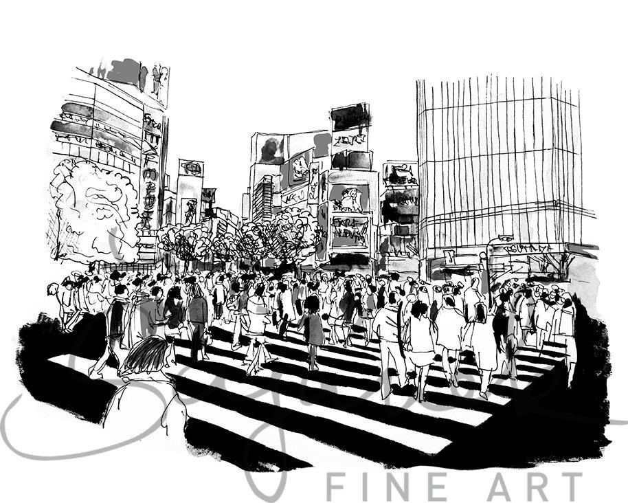 Shibuya Sketch, Tokyo, Japan, Asia, Capital City, Poster Art, Modern Wall  Art, Home Decor,Digital Download