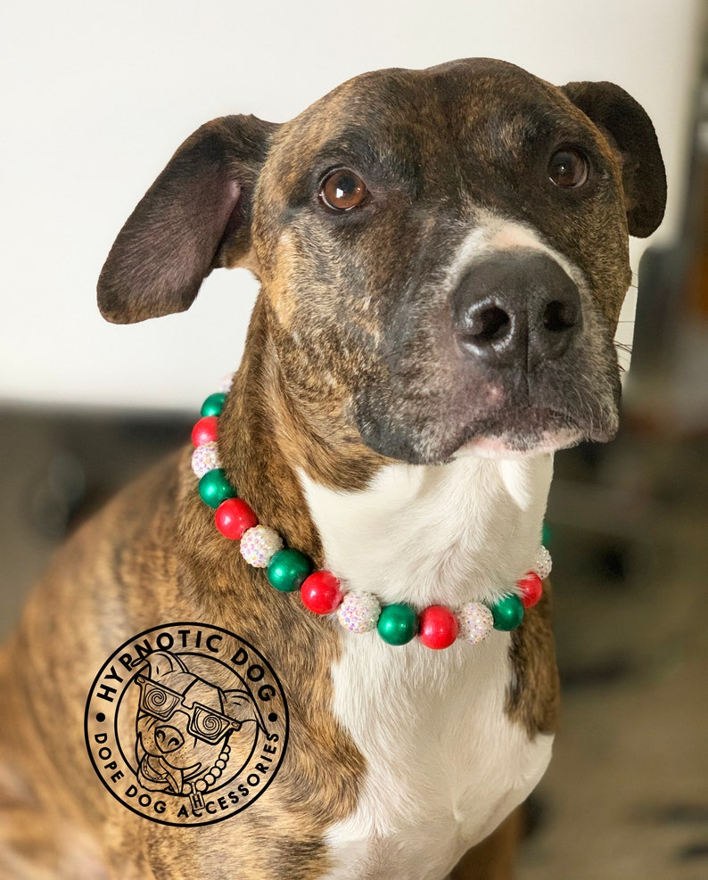 beaded bright large slip on collar dog pearl necklace Holly Jolly Christmas WOODEN metallic glitter bead collar dog pearls