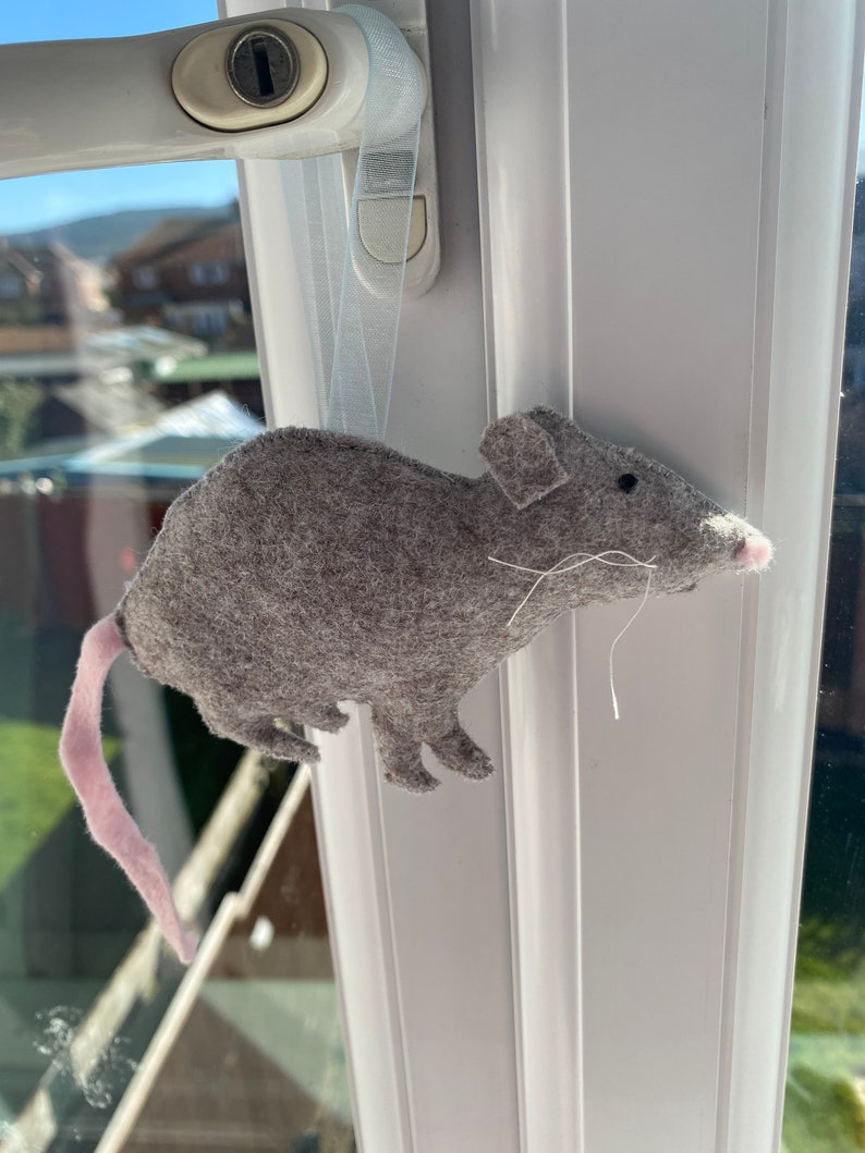 rat decor Grey felt rat hanging decoration